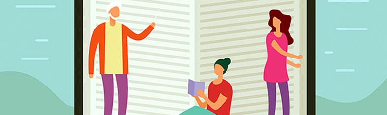 Tegning af en stor bog, hvor der står tre personer foran og peger.
