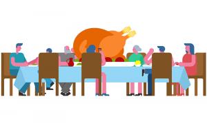 Illustration af mennesker rundt om et bord, der spiser kalkun
