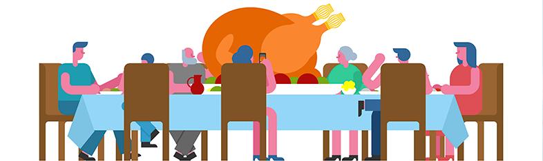 Tegning af mennesker, der sidder rundt om et bord og spiser kalkun