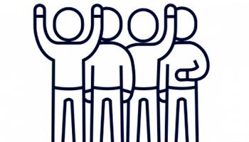 Ikoner: fire mennesker ved siden af hinanden - to af dem har en arm i vejret