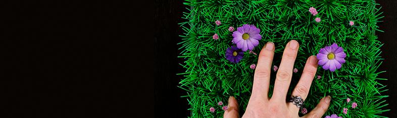 Hånd der føler græs på væg
